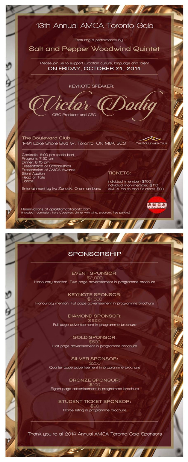 AMCA Toronto 13th Annual Gala Dinner Flyer